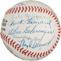 Autographs:Baseballs, 1970's Hall of Famers Multi-Signed Baseball with Paige, Medwick....