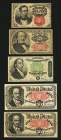 Fractional Currency:Fifth Issue, Five Fractionals.. ... (Total: 5 notes)