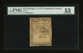 Colonial Notes:Continental Congress Issues, Continental Currency February 17, 1776 $1/2 PMG About Uncirculated53.. ...