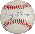 Autographs:Baseballs, 1972 President Harry S. Truman Single Signed Baseball &Letter....