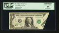 Error Notes:Foldovers, Fr. 1908-H $1 1974 Federal Reserve Note. PCGS Apparent Choice AboutNew 58.. ...