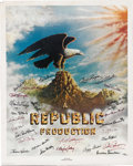 Movie/TV Memorabilia:Autographs and Signed Items, The Stars of Republic Pictures Signed Poster (Nostalgia Merchant,1977). For 25 years, Republic pictures was known for produ...(Total: 1 Item)