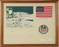 "Autographs:Celebrities, U.S. Flag Carried to the Moon on Apollo 16. Color photograph ofCharles Duke saluting the U.S. flag on the moon, 9.75"" x 7.7...(Total: 1 Item)"