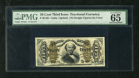 Fr. 1324 50c Third Issue Spinner PMG Gem Uncirculated 65EPQ. A broadly margined example of this red back Spinner type th...