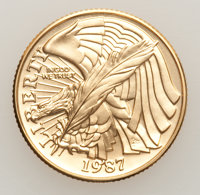 """1987-W G$5 Constitution Gold Five Dollar Uncertified. This lot includes: 1987-W G$5 Portrays Modernistic"""" We the Pe..."""