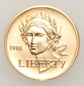 """Modern Issues, 1988-W G$5 Olympic Gold Five Dollar Uncertified. This Lot includes: 1988-W G$5 Goddess of Victory """"Liberty"""" and 1988-D£1... (Total: 2 coins)"""