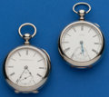 Timepieces:Pocket (pre 1900) , Two Key Winds, 7 Jewel Elgin, 9 Jewel Model 79 Waltham Wm. Ellery.... (Total: 2 Items)