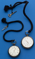 Timepieces:Pocket (pre 1900) , Swiss Sterling Lever Fusee & 56 mm Key Wind. ... (Total: 2 Items)
