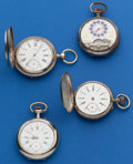 Timepieces:Pocket (post 1900), Four Swiss Watches, One Runner, Three For Restoration Or Parts. ...(Total: 4 Items)