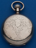Timepieces:Pocket (post 1900), Longines 14 Size Silver Hunters Case For Jacob Ritter New York. ...