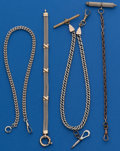 Timepieces:Watch Chains & Fobs, Three - Pocket Watch Chains One Silver & 1 Gold Bracket. ... (Total: 4 Items)