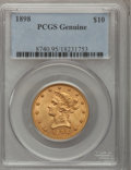 Liberty Eagles, 1898 $10 PCGS Genuine. The PCGS number ending in .95 suggestsScratch/Rim Dent as the reason, or perhaps one of the reasons...