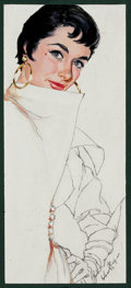 Mainstream Illustration, JIM SCHAEFFING (American, 20th Century). Brunette Beauty,magazine story illustration, circa 1950. Tempera and pencilon...