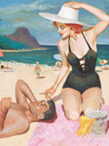 Pulp, Pulp-like, Digests, and Paperback Art, JIM SCHAEFFING (American, 20th Century). A Day at the Beach,magazine story illustration, circa 1950. Tempera on board. ...