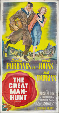 "The Great Manhunt (Columbia, 1950). Three Sheet (41"" X 81"") Also Known As ""State Secret."" Thriller..."