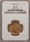Indian Eagles: , 1908-S $10 AU50 NGC. NGC Census: (44/491). PCGS Population(72/383). Mintage: 59,850. Numismedia Wsl. Price for problem fre...
