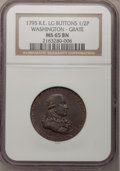 Colonials, 1795 1/2P Washington Grate Halfpenny, Large Buttons, Reeded Edge MS65 Brown NGC. Baker-29A or -29AA, W-10955, R.1....