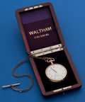 Timepieces:Pocket (post 1900), Waltham 19 Jewel Riverside, Original Wood Box & Chain. ...