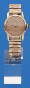 Timepieces:Wristwatch, Omega Vintage 14k Gold Center Seconds Wristwatch. ...