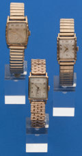 Timepieces:Wristwatch, Three Wristwatches, 14k Gold Benrus, Two Gold Filled/Steel Back Elgin's. ... (Total: 3 Items)