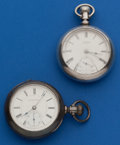 Timepieces:Pocket (post 1900), Hampden & Waltham Two Coin Silver 18 Size Pocket Watches. ... (Total: 2 Items)