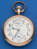 Timepieces:Pocket (post 1900), Elgin 21 Jewel, Father Time 16 Size Wind Indicator Pocket Watch. ...