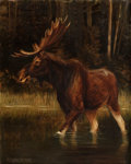 Fine Art - Painting, American:Antique  (Pre 1900), ALEXANDER POPE, JR. (American, 1849-1924). Moose. Oil oncanvas. 20 x 16 inches (50.8 x 40.6 cm). Signed lower left: ...(Total: 3 Items)