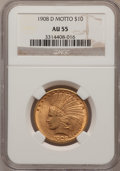 Indian Eagles: , 1908-D $10 Motto AU55 NGC. NGC Census: (36/516). PCGS Population(64/446). Mintage: 836,500. Numismedia Wsl. Price for prob...