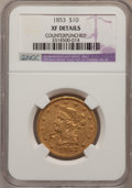 Liberty Eagles, 1853 $10 --Counterpunched--NGC Details. XF....