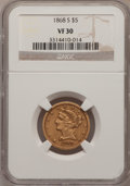 Liberty Half Eagles: , 1868-S $5 VF30 NGC. NGC Census: (8/85). PCGS Population (9/55).Mintage: 52,000. Numismedia Wsl. Price for problem free NGC...