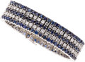 Estate Jewelry:Bracelets, Sapphire, Diamond, White Gold Bracelet. ...