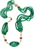 Estate Jewelry:Necklaces, Emerald, Rock Crystal Quartz, Ruby, Cultured Pearl, Diamond, Gold Necklace. ...