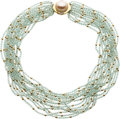 Estate Jewelry:Necklaces, Aquamarine, Mabe Pearl, Diamond, Gold Necklace. ...