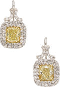 Estate Jewelry:Earrings, Fancy Colored Diamond, Platinum, Gold Earrings. ...