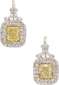 Fancy Colored Diamond, Platinum, Gold Earrings