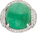 Estate Jewelry:Rings, Emerald, Diamond, Platinum Ring, Circa 1950. ...