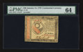 Colonial Notes:Continental Congress Issues, Continental Currency January 14, 1779 $30 PMG Choice Uncirculated 64.. ...