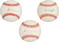 Autographs:Baseballs, Baseball Hitting Legends Single Signed Baseball Lot Of 3....