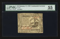 Colonial Notes:Continental Congress Issues, Continental Currency February 17, 1776 $2 PMG About Uncirculated55.. ...