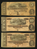 Confederate Notes:Group Lots, Confederate Group Lot 1864 $5; $10; $10. . ...
