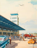 Paintings, CARL G. EVERS (American , 1907-2000). At the Airport. Watercolor and gouache on board. 18 x 13.75 in.. Signed lower righ...