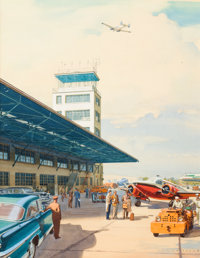 CARL G. EVERS (American , 1907-2000) At the Airport Watercolor and gouache on board 18 x 13.75 in