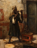Paintings, RUDOLF ERNST (Austrian, 1854-1932). The Snake Charmer. Oil on panel. 12-3/4 x 9-3/4 inches (32.4 x 24.8 cm). Signed uppe...