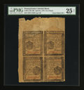 Colonial Notes:Pennsylvania, Pennsylvania April 25, 1776 Uncut Block of Four 3d, 3d, 4d, 4d PMGVery Fine 25 Net.. ...