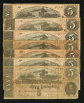 Confederate Notes:1864 Issues, T69 $5 1864 Seven Examples.. ... (Total: 7 notes)