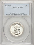 Washington Quarters: , 1932-S 25C MS63 PCGS. PCGS Population (892/1066). NGC Census:(466/586). Mintage: 408,000. Numismedia Wsl. Price for proble...