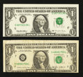 Error Notes:Error Group Lots, Fr. 1913-G $1 1985 Federal Reserve Note. Very Fine;. Fr. 1921-E $11995 Federal Reserve Note. Choice About Uncirculated.. ... (Total:2 notes)