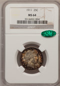 Barber Quarters: , 1911 25C MS64 NGC. CAC. NGC Census: (77/24). PCGS Population(79/53). Mintage: 3,720,543. Numismedia Wsl. Price for problem...