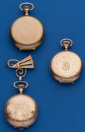 Timepieces:Pocket (post 1900), Three - Hunter Cases Two - 3/0 Size Hampden One - 0 Size Elgin. ... (Total: 3 Items)