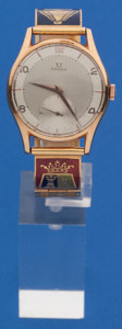Timepieces:Wristwatch, Omega 18k Gold Vintage Manual Wind Wristwatch With 14k Custom GoldBand. ...